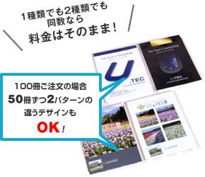 100冊ご注文の場合50冊ずつ2パターンの違うデザインもOK!
